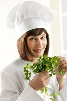 Free Female Chef With Parsley Stock Photography - 17310382