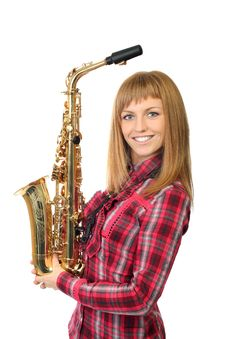 Smiling Young  Girl With Saxophone Stock Images