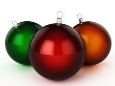 Free Three Different Colored Christmas Ball Stock Photography - 17311802
