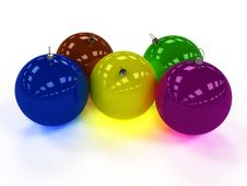 Free Five Christmas Ball With Different Colors Royalty Free Stock Photos - 17311858