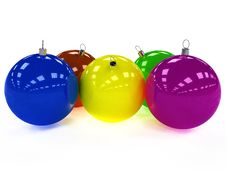 Free Five Christmas Ball With Different Colors Stock Images - 17311874
