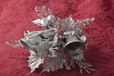 Free Silverbells On Red Brocade Background Royalty Free Stock Image - 17311896