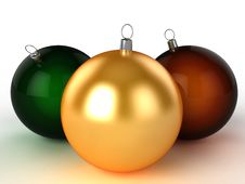 Free Three Christmas Balls Of Different Colors 2 Royalty Free Stock Images - 17311899