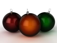 Free Three Christmas Balls Of Different Colors 3 Stock Images - 17311924