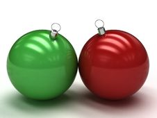 Free Green And Red Christmas Balls Stock Images - 17311954
