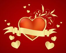 Red Heart With Small Hearts Environment Stock Photography