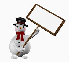 Snowman With A Sign Stock Image
