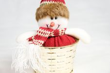 Free Snow Man Toy In A Golden Box Decoration Isolated Stock Image - 17314451