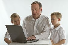 Free Modern Dad Teaching His 6 Years Old Boys Stock Image - 17314751