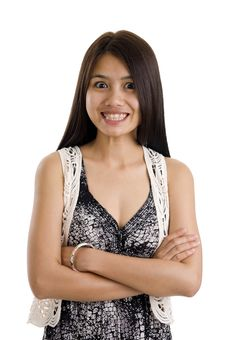 Free Woman With Crossed Arms And Funny Expression Royalty Free Stock Photography - 17315107