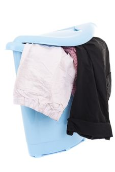 Free Basket Of Dirty Laundry On White Royalty Free Stock Photo - 17315845