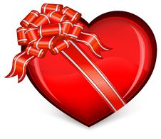 Free Heart With Bow On White Royalty Free Stock Photos - 17316458