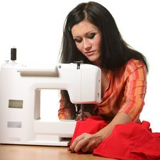 Free Seamstress Work On The Sewing-machine Royalty Free Stock Images - 17316699