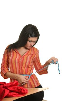 Free Seamstress Work On The Sewing-machine Royalty Free Stock Image - 17316706
