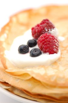 Pancakes Topped With  Raspberries, Bilberries And Stock Photos