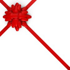 Free A Red Bow With Ribbons - A 3d Image Royalty Free Stock Photos - 17317368