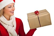 Free Woman In Santa Hat With Presents Royalty Free Stock Photography - 17317407