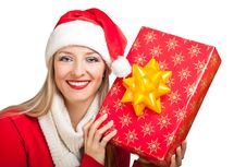 Free Woman In Santa Hat With Presents Stock Images - 17317414
