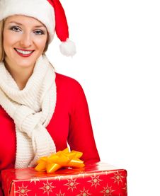 Free Woman In Santa Hat With Presents Stock Image - 17317441