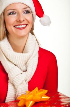 Free Woman In Santa Hat With Presents Royalty Free Stock Photos - 17317458