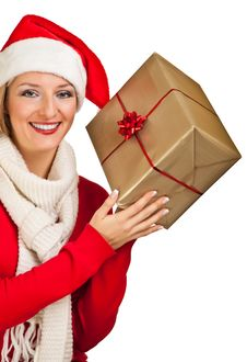 Free Woman In Santa Hat With Presents Royalty Free Stock Images - 17317479