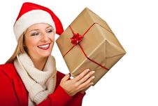 Free Woman In Santa Hat With Presents Stock Images - 17317484