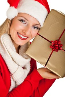 Free Woman In Santa Hat With Presents Royalty Free Stock Photos - 17317498