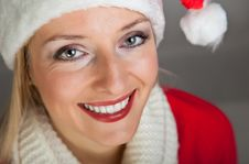 Woman In Santa Hat With Presents Stock Image