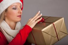 Free Woman In Santa Hat With Presents Royalty Free Stock Photography - 17317677