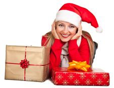 Free Woman In Santa Hat With Presents Stock Photography - 17317792