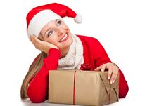 Free Woman In Santa Hat With Presents Royalty Free Stock Photos - 17317808
