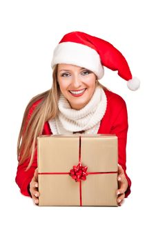 Woman In Santa Hat With Presents Royalty Free Stock Images