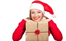 Free Woman In Santa Hat With Presents Royalty Free Stock Image - 17317826