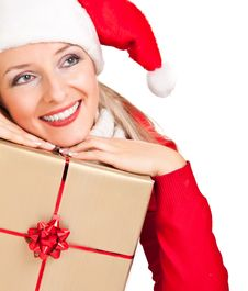 Free Woman In Santa Hat With Presents Royalty Free Stock Photography - 17317847