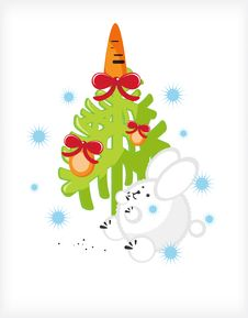 Rabbit Carrots, Christmas Tree Royalty Free Stock Photo