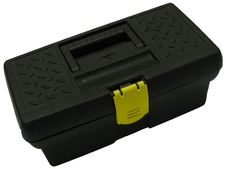 Isolated Black Toolbox, Close-Up Stock Images