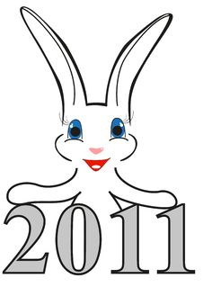 Free Funny Christmas Rabbit With New Year Date Royalty Free Stock Photography - 17318517