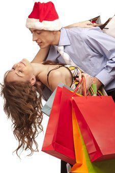 Free Lovely Couple Making Christmas Shopping Stock Photography - 17318622