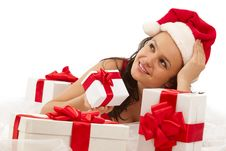 Free Smiling Girl With Gift Boxes Stock Images - 17318624