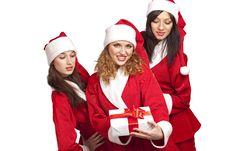 Free Santas With A Gift Box Royalty Free Stock Photo - 17318645