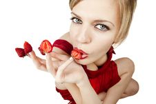 Free Young Woman With Red Strawberries Stock Photo - 17318710
