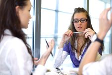 Girl On Examinination Royalty Free Stock Photos