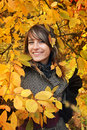 Free Beautiful Girl Among Yellow Autumn Leaves Stock Photography - 17322982