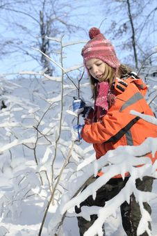 Child Playing With Snow Stock Images