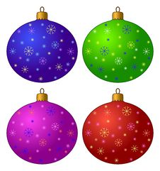 Christmas-tree Decorations, Set Royalty Free Stock Photos