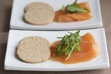 Smoked Salmon With Oatcakes Stock Photography