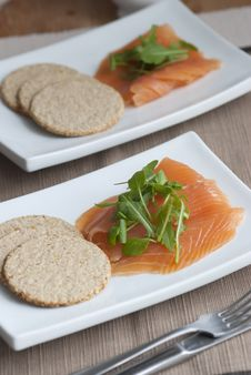Free Smoked Salmon With Oatcakes Stock Photos - 17320483