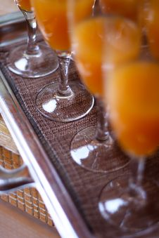 Orange Juice In Glass Ready To Serve Royalty Free Stock Photography