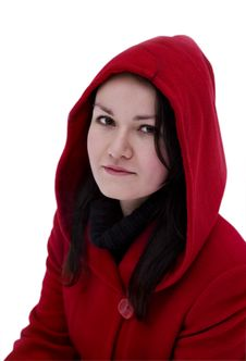 Free Girl In The Red Coat On A White Background Stock Photo - 17320980