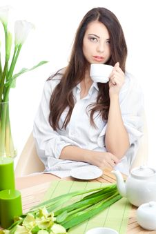 Free Woman With Cup Of Coffe Stock Images - 17321174